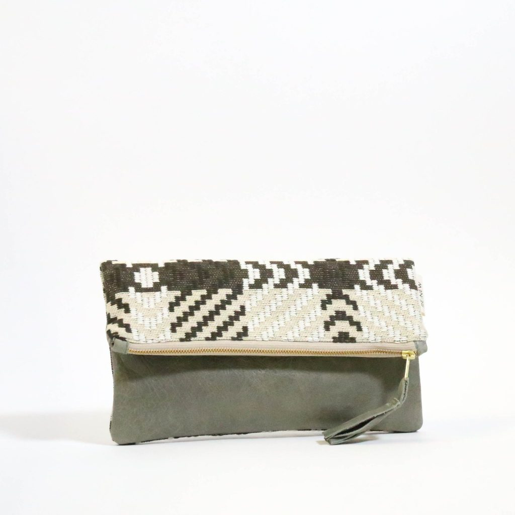 Re:new Ahlam Leather Foldover Clutch